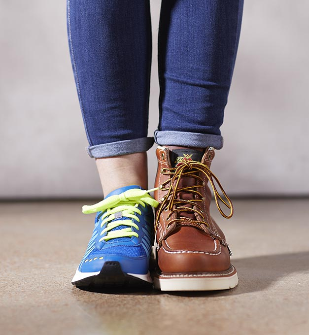 Tennis Shoe and Boot on one person